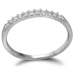 10kt White Gold Womens Round Natural Diamond Band Weddi