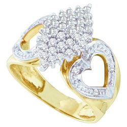 10KT Yellow Gold 0.50CTW DIAMOND LADIES CLUSTER RING