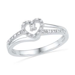 10KT White Gold 0.06CTW DIAMOND FASHION HEART RING