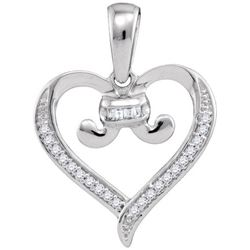 10KT White Gold 0.08CTW DIAMOND HEART PENDANT