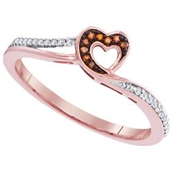 10KT Rose Gold 0.10CTW DIAMOND MICRO-PAVE HEART RING
