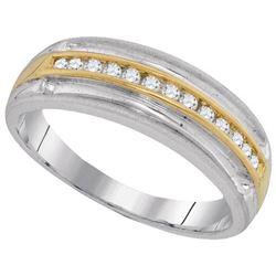 10KT White Gold Two Tone 0.27CTW DIAMOND MENS FASHION B