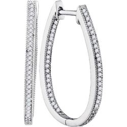 10KT White Gold 0.33CTW DIAMOND FASHION HOOPS