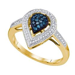 10KT Yellow Gold 0.25CTW BLUE DIAMOND LADIES FASHION RI
