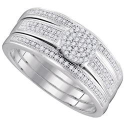 10KT White Gold 0.25CTW DIAMOND MICRO-PAVE BRIDAL SET