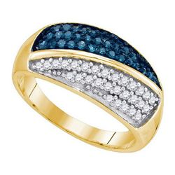 10K Yellow-gold 0.50CTW BLUE DIAMOND FASHION BAND