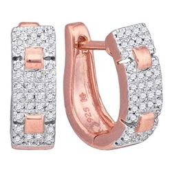 10KT Rose Gold 0.25CTW DIAMOND MICRO-PAVE HOOPS