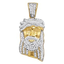 10kt Yellow Gold Mens Round Diamond Jesus Christ Messia
