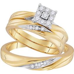 10K Yellow-gold 0.19CTW DIAMOND FASHION TRIO-SET