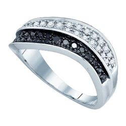 10KT White Gold 0.33CT BLACK DIAMOND FASHION RING