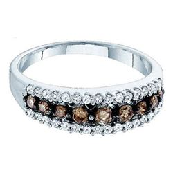 14KT White Gold 0.50CTW COGNAC DIAMOND LADIES FASHION B