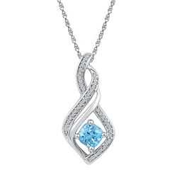 Womens 10K White Gold Enhanced Blue Colored Diamond Inf