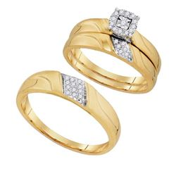 10K Yellow-gold 0.19CTW DIAMOND FASHION TRIO SET