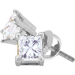 14kt White Gold Womens Princess Diamond I2 JK Solitaire