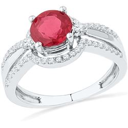 10kt White Gold Womens Round Lab-Created Ruby Solitaire