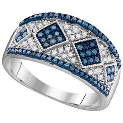 10KT White Gold 0.51CTW BLUE DIAMOND FASHION RING