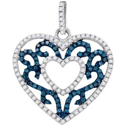 10KT White Gold 0.50CTW BLUE DIAMOND FASHION PENDANT