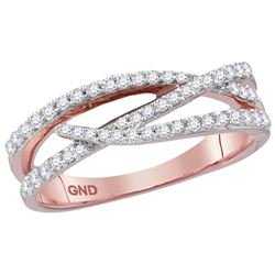 10kt Rose Gold Womens Round Natural Diamond Crossover W