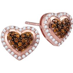10kt Rose Gold Womens Round Cognac-brown Colored Diamon