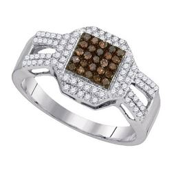 10KT White Gold 0.40CTW COGNAC DIAMOND FASHION RING