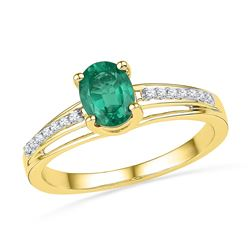10kt Yellow Gold Womens Oval Lab-Created Emerald Solita