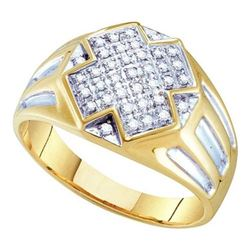 10K Yellow-gold 0.25CTW DIAMOND MICRO PAVE MENS RING