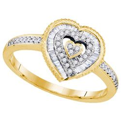 10K Yellow-gold 0.24CTW DIAMOND HEART RING