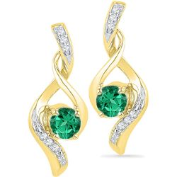 10kt Yellow Gold Womens Round Lab-Created Emerald Solit
