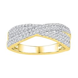 10kt Yellow Gold Womens Round Natural Diamond Crossover
