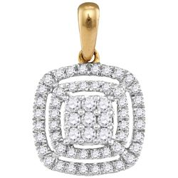 14kt Yellow Gold Womens Round Diamond Concentric Square