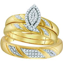 10k Yellow Gold Natural Diamond His & Hers Matching Tri