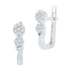 10KT White Gold 0.25CTW DIAMOND HOOPS EARRING