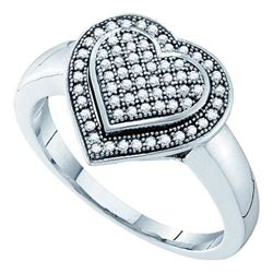 10KT White Gold 0.25CTW DIAMOND HEART RING
