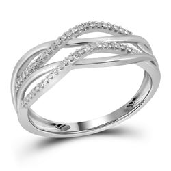 10kt White Gold Womens Round Diamond Entwined Strand Ba