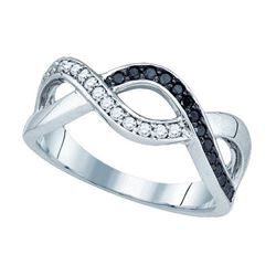 10K White-gold 0.25CT BLACK DIAMOND FASHION BAND