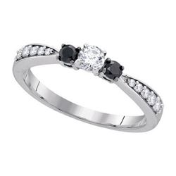 10KT White Gold 0.39CTW BLACK DIAMOND FASHION RING