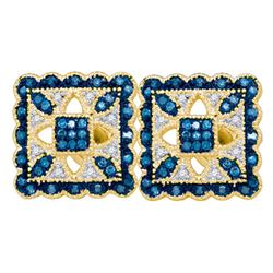10KT Yellow Gold 0.20CT BLUE DIAMOND FASHION EARRING