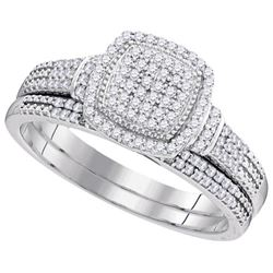 10KT White Gold 0.33CTW DIAMOND MICRO-PAVE BRIDAL SET
