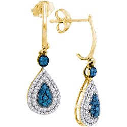 10kt Yellow Gold Womens Round Blue Colored Diamond Tear