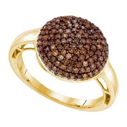 10KT Yellow Gold 0.60CTW COGNAC DIAMOND FASHION RING