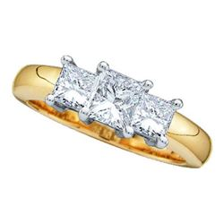14KT Yellow Gold Two Tone 0.25CTW PRINCESS 3 STONE DIAM