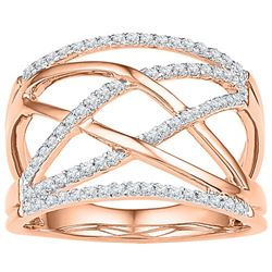 10kt Rose Gold Womens Round Diamond Criss Cross Crossov