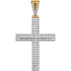 10kt Yellow Gold Mens Round Diamond Cross Religious Cha