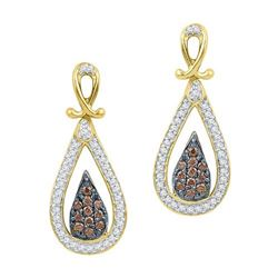 10K Yellow-gold 0.25CTW COGNAC DIAMOND FASHION EARRING