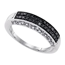 10K White-gold 0.51CTW-DIA BLACK DIAMOND BAND