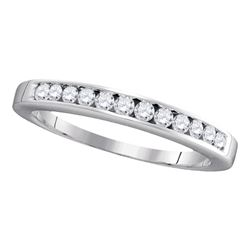 14kt White Gold Womens Round Channel-set Diamond Single