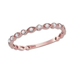 10kt Rose Gold Womens Round Diamond Stackable Band Ring