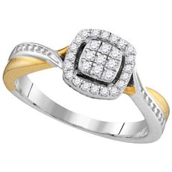 10KT White Gold Two Tone 0.21CTW DIAMOND FASHION RING