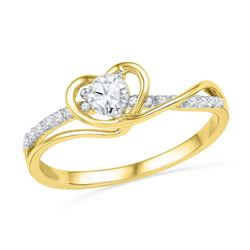 10K Yellow-gold 0.25CTW DIAMOND HEART RING