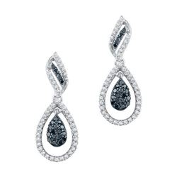 10KT White Gold 0.50CTW BLACK DIAMOND FASHION EARRING